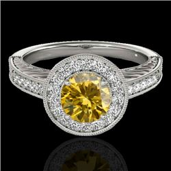 1.5 CTW Certified Si Fancy Intense Yellow Diamond Solitaire Halo Ring 10K White Gold - REF-200Y2N -