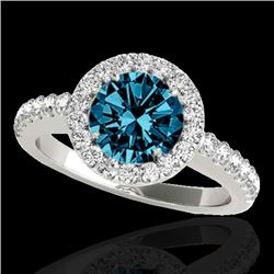 1.65 CTW SI Certified Fancy Blue Diamond Solitaire Halo Ring 10K White Gold - REF-180F2M - 33477