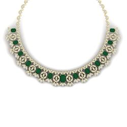 50.44 CTW Royalty Emerald & VS Diamond Necklace 18K Yellow Gold - REF-1709W3H - 39377