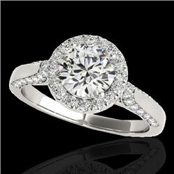 1.5 CTW H-SI/I Certified Diamond Solitaire Halo Ring 10K White Gold - REF-176N4Y - 33562
