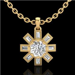 1.33 CTW VS/SI Diamond Solitaire Art Deco Necklace 18K Yellow Gold - REF-220Y9N - 37069