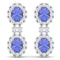 8.35 CTW Royalty Tanzanite & VS Diamond Earrings 18K White Gold - REF-263X6T - 38817