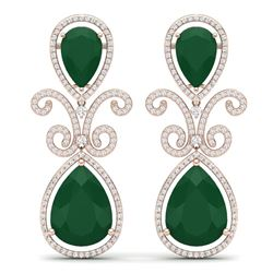 31.6 CTW Royalty Emerald & VS Diamond Earrings 18K Rose Gold - REF-445H5W - 39541