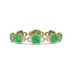 25 CTW Emerald & VS/SI Diamond Certified Bracelet 14K Yellow Gold - REF-457M3F - 23022