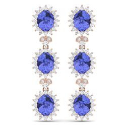 25.36 CTW Royalty Tanzanite & VS Diamond Earrings 18K Rose Gold - REF-509W3H - 38647