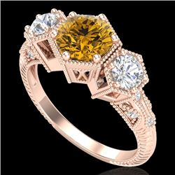 1.66 CTW Intense Fancy Yellow Diamond Art Deco 3 Stone Ring 18K Rose Gold - REF-254N5Y - 38058