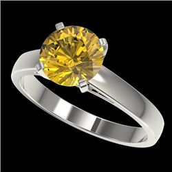 2 CTW Certified Intense Yellow SI Diamond Solitaire Engagement Ring 10K White Gold - REF-417M6F - 33