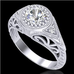 1.07 CTW VS/SI Diamond Art Deco Ring 18K White Gold - REF-321K2R - 36884