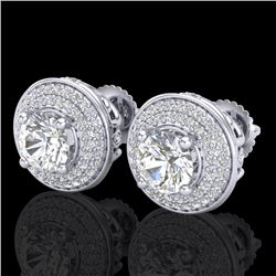 2.35 CTW VS/SI Diamond Solitaire Art Deco Stud Earrings 18K White Gold - REF-400N2Y - 37256
