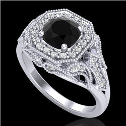 1.75 CTW Fancy Black Diamond Solitaire Engagement Art Deco Ring 18K White Gold - REF-136T4X - 38276