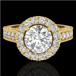 2.25 CTW Vintage Design Solitaire VS/SI Diamond Halo Ring 14K Yellow Gold - REF-372X2T - 21118