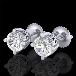 1.5 CTW VS/SI Diamond Solitaire Art Deco Stud Earrings 18K White Gold - REF-318X2T - 37229