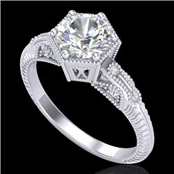 1.17 CTW VS/SI Diamond Solitaire Art Deco Ring 18K White Gold - REF-381F8M - 37214