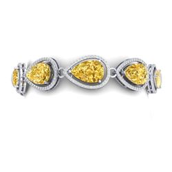38.99 CTW Royalty Canary Citrine & VS Diamond Bracelet 18K White Gold - REF-436X4T - 39567