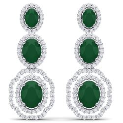17.51 CTW Royalty Emerald & VS Diamond Earrings 18K White Gold - REF-345W5H - 39201