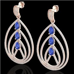 4 CTW Tanzanite & Micro Pave VS/SI Diamond Designer Earrings 14K Rose Gold - REF-238Y4N - 22462