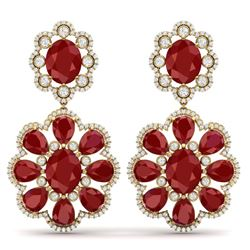 33.88 CTW Royalty Designer Ruby & VS Diamond Earrings 18K Yellow Gold - REF-472W8H - 39158