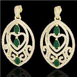7 CTW Emerald & Micro Pave VS/SI Diamond Heart Earrings Designer 18K Yellow Gold - REF-381X8T - 2115
