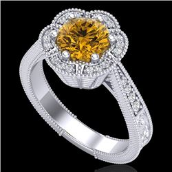1.33 CTW Intense Fancy Yellow Diamond Engagement Art Deco Ring 18K White Gold - REF-227Y3N - 37959