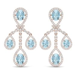 25.94 CTW Royalty Sky Topaz & VS Diamond Earrings 18K Rose Gold - REF-418X2T - 38581