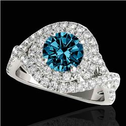 2 CTW SI Certified Blue Diamond Solitaire Halo Ring 10K White Gold - REF-236F4M - 33878