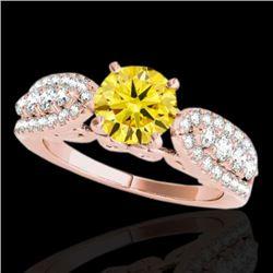 2 CTW Certified Si Fancy Intense Yellow Diamond Solitaire Ring 10K Rose Gold - REF-254H5W - 35276