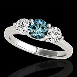2 CTW SI Certified Fancy Blue Diamond 3 Stone Solitaire Ring 10K White Gold - REF-281M8F - 35390