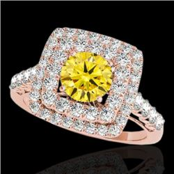 2.05 CTW Certified Si Fancy Intense Yellow Diamond Solitaire Halo Ring 10K Rose Gold - REF-225R5K -