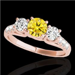 3.25 CTW Certified Si Fancy Intense Yellow Diamond 3 Stone Ring 10K Rose Gold - REF-394N5Y - 35456
