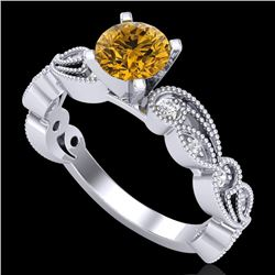 1.01 CTW Intense Fancy Yellow Diamond Engagement Art Deco Ring 18K White Gold - REF-143H6W - 38274