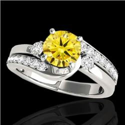 2 CTW Certified Si Fancy Intense Yellow Diamond Bypass Solitaire Ring 10K White Gold - REF-272W8H -