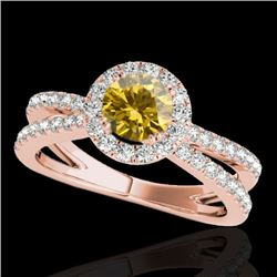 2 CTW Certified Si Fancy Intense Yellow Diamond Solitaire Halo Ring 10K Rose Gold - REF-231X8T - 338