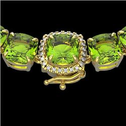 100 CTW Peridot & VS/SI Diamond Halo Micro Solitaire Necklace 14K Yellow Gold - REF-528K9R - 23355