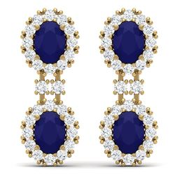 8.98 CTW Royalty Sapphire & VS Diamond Earrings 18K Yellow Gold - REF-218Y2N - 38816