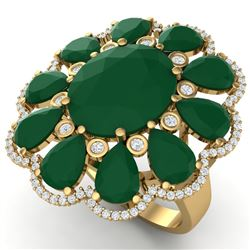 20.63 CTW Royalty Designer Emerald & VS Diamond Ring 18K Yellow Gold - REF-327X3T - 39140