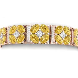 34.18 CTW Royalty Canary Citrine & VS Diamond Bracelet 18K Rose Gold - REF-536F4M - 39028