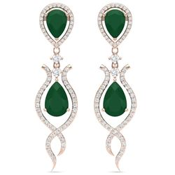 16.57 CTW Royalty Emerald & VS Diamond Earrings 18K Rose Gold - REF-345Y5N - 39511