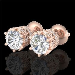 2.04 CTW VS/SI Diamond Solitaire Art Deco Stud Earrings 18K Rose Gold - REF-361H8W - 37242
