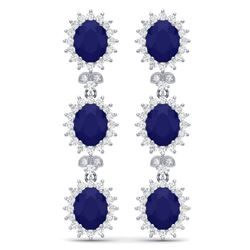 24.52 CTW Royalty Sapphire & VS Diamond Earrings 18K White Gold - REF-400X2T - 38643