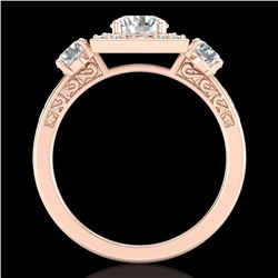 1.55 CTW VS/SI Diamond Solitaire Art Deco 3 Stone Ring 18K Rose Gold - REF-272Y8N - 37275
