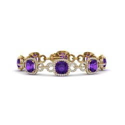 30 CTW Amethyst & VS/SI Diamond Certified Bracelet 14K Yellow Gold - REF-368W9H - 23017