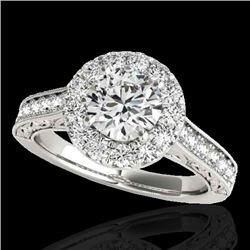 2.22 CTW H-SI/I Certified Diamond Solitaire Halo Ring 10K White Gold - REF-360R2K - 33733