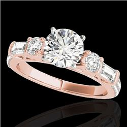2.5 CTW H-SI/I Certified Diamond Pave Solitaire Ring 10K Rose Gold - REF-411M5F - 35481