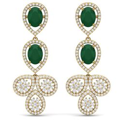 9.75 CTW Royalty Emerald & VS Diamond Earrings 18K Yellow Gold - REF-309K3R - 39080