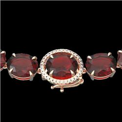 145 CTW Garnet & VS/SI Diamond Halo Micro Eternity Necklace 14K Rose Gold - REF-455Y6N - 22296