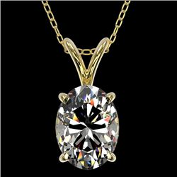 1.25 CTW Certified VS/SI Quality Oval Diamond Solitaire Necklace 10K Yellow Gold - REF-367W3H - 3321