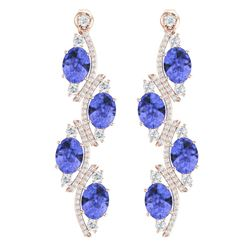 16.23 CTW Royalty Tanzanite & VS Diamond Earrings 18K Rose Gold - REF-354K5R - 38986