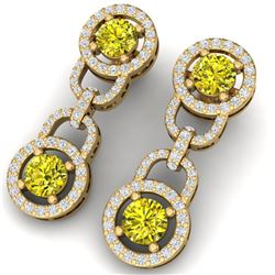 4 CTW Si/I Fancy Yellow And White Diamond Earrings 18K Yellow Gold - REF-271X4T - 40111