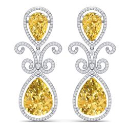 27.31 CTW Royalty Canary Citrine & VS Diamond Earrings 18K White Gold - REF-301W8H - 39552