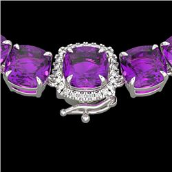116 CTW Amethyst & VS/SI Diamond Halo Micro Necklace 14K White Gold - REF-350X2T - 23333
